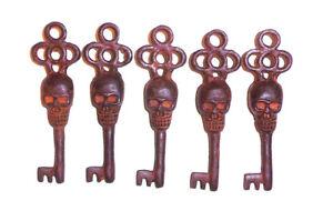 Victorian Skull Key Vintage Antique Style cast Iron Skeleton Key lot of 5