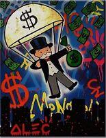 "Alec Monopoly Banksy Oil Painting on Canvas Graffiti art decor Parachute 12x16"""