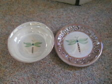 """ATICO Dragonfly 8"""" Plate and 7"""" Bowl Taupe Raised Swirled Edges Handpainted"""