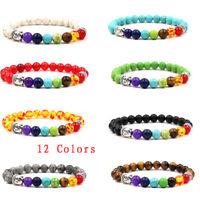 Unisex 7 Chakra Healing Beaded Bracelet Natural Lava Stone Bracelet Top Sale