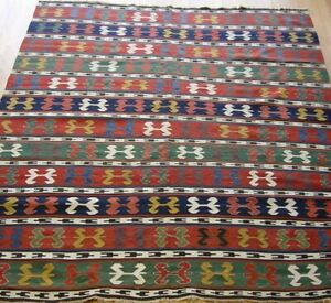 """Antique 1900s Caucasian Kilim Hand Woven Wool Flat Woven Rug Cleaned  6' x 7'8"""""""