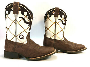 ARIAT white & brown leather 4LR roper pull on boots 2Y FREE SHIP!
