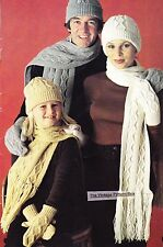 FAMILY ARAN - HAT,SCARF & MITTS / 8ply or D.K. -  COPY knitting pattern