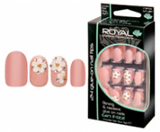 ROYAL 24 FALSE ROUND NAIL TIP PEACH WITH 3D FLOWER DESIGN GIN FIZZ NAILS TIPS