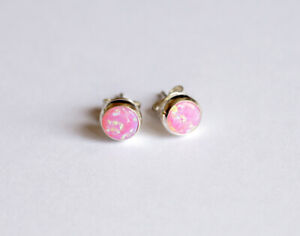 925 sterling silver and Opal stud earrings, white, blue, pink, green, red