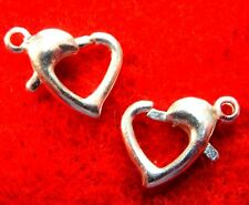 50Pcs. WHOLESALE Tibetan Silver-Plated 10mm Lobster HEART Clasps Hooks Q0910