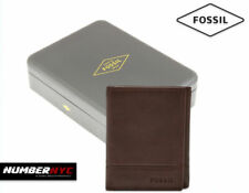 Fossil Men Brooks Trifold ID Leather Wallet Dark Brown RFID Blocking + GIFT BOX