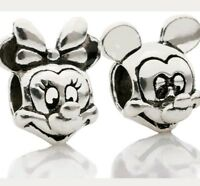 Disney Mickey Mouse bead Charm Minnie set of 2 bracelet birthday Christmas  CH01