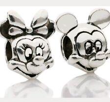 Disney Mickey Mouse bead Charm Minnie set of 2 bracelet birthday Christmas  CH01