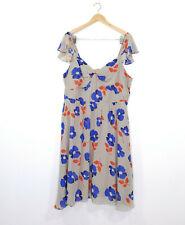 CITY CHIC Size L 20 Dress Floral Beige Blue Red Chiffon Soft A-Line