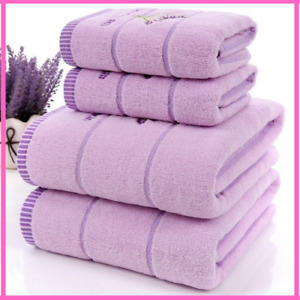 Cotton Towels Luxury Lavender Women Cotton Purple White Set Bath Face Children