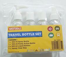 4 piezas Conjunto de Baño Aseo Viaje Bolsa De Transporte Transparente Botella de aire vacaciones Puerto de vuelo