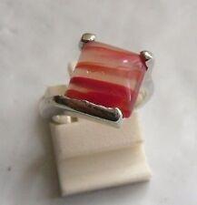 bague bijou style vintage couleur argent pierre naturelle essentielle rose T 49