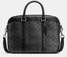 NWT COACH MENS SIGNATURE SLIM BRIEFCASE MESSENGER CROSSBODY BAG 71794 Black $495