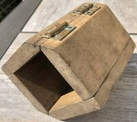 Antique Primitive Wooden Butter Mold Form Rectangle Hinged