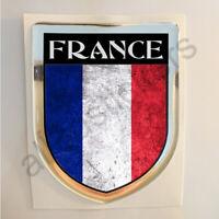 Pegatina Francia 3D Bandera Grunge Escudo Adhesivo Resina Relieve Pegatinas