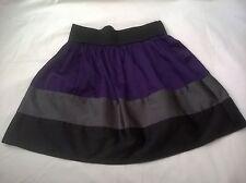 "women's girls Juniors black purple gray skirt large body central color block 26"""