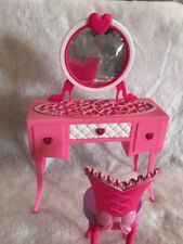 2012 mattel pink barbie vanity And Chair with mirror and a pull out drawer