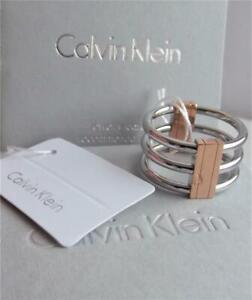 CALVIN KLEIN STAINLESS STEEL ROSE GOLD PLAT 3 ROW BAND RING UK-N; BNWT BOX RP£69