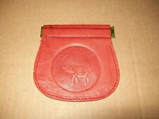 "LEATHER SQUEEZE COIN POUCH / 3.5"" OPENING / HAND TOOLED EMBOSSED DESIGN"