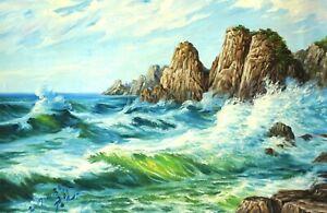 Original Oil Painting On Canvas - Landscape - Huge Waves, Ocean, Rocks