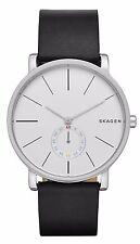 Skagen Men's Hagen Silver Tone Black Leather Band 3-Hand Analog Watch SKW6274