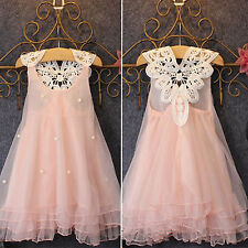 Kids Girls Princess Summer Tulle Dress Lace Formal Party Prom Casual Bridesmaid
