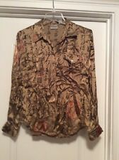 Women's Chico's Size 1/Small Black & Gold L/S Rayon & Silk Button Up Blouse
