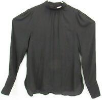 H&M Womens Size 4 Blouse Top Black Polka Dot Mock Neck Keyhole Back Chiffon