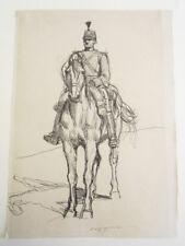 "Evert Van Muyden Original 19th Century Pen & Ink Drawing ""Swiss Cavalry Officer"""