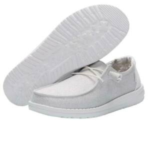 Hey Dude Wendy Stretch Sparkling White Lightweight Slip On Casual Women's Shoes