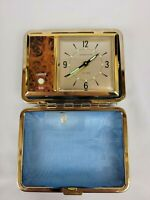 Vintage Hamilton Travel Alarm Clock With Blue Case Made In Japan Untested