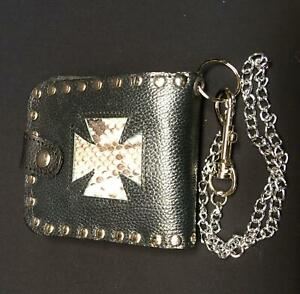 Iron Cross Genuine Python Snake Skin Leather Wallet Key Belt Chain Biker