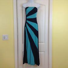 Venus Teal & Navy Blue  Diagonal Stripe  Size Small Strapless Dress