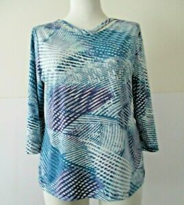 Chico's EasyWear Plus Size 2 blue polyester/spandex 3/4 sleeve casual knit top