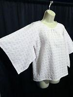 Stark X Boutique Label White Blouse Top Square Draped Sleeves Boxy Size M Cotton