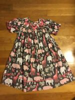 Classic Whimsy Boutique EUC Smocked Brown & Pink Animal Print Dress 2