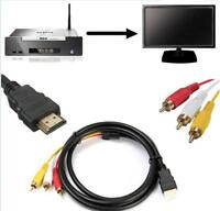 5 Feet 1.5M 1080P HDTV HDMI Male to 3 RCA Audio Video AV Cable Cord Adapter
