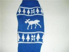 Holiday Pet Dog Sweater Blue with Deer Snowflakes Small New
