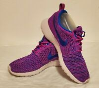 Nike Womens Roshe 1 Flyknit Running Shoes Purple 704927-501 Low Top Marled 8