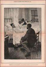 VISITING CHILDREN IN HOSPITAL, MEDICAL, by GEOFFROY ANTIQUE ENGRAVING 1889