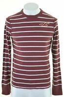 HOLLISTER Mens Top Long Sleeve Medium Burgundy Striped Cotton  CH05