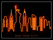 New York Neon Print, Retro metal Aluminium Sign vintage / man cave / Bar/ Pub