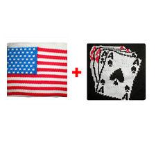 Coppia polsini usa + carte da gioco in spugna gruppi rock e bandiere