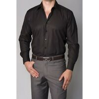 MENS NEW BLACK SHIRT FOR PROMS WEDDINGS DRESS DOUBLE CUFF SHIRT