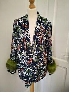 ZARA floral navy & Green Kimono Fur Sleeves size S M jacket superb condition