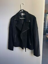 Topman Black Genuine Suede Leather Biker Motorcycle Jacket Coat Men's Size L