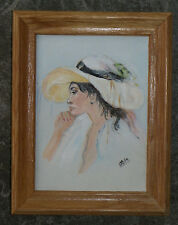 "8 3/4"" x 6 3/4"" Framed Painting On Canvas-Woman With Yellow Hat in Profile-""ODM"""