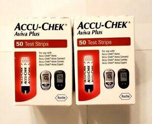 New Retail AccuChek Aviva Plus Diabetic Test Strip 100 ct exp 08/2022 & 11/2022