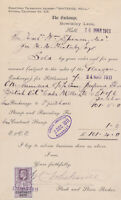 1911 Hull British Oil Stock Certificate With 1/- One Shilling Tax Contract Stamp